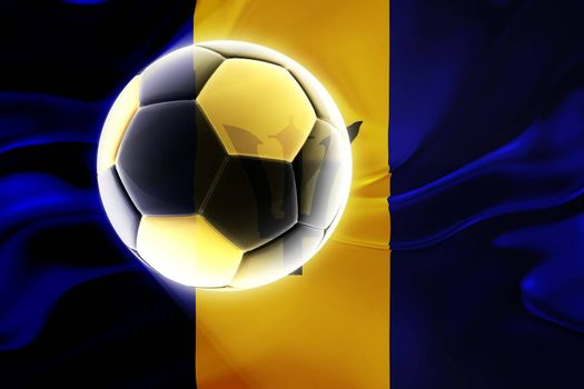 Flag of Barbados, national symbol illustration clipart wavy fabric sports soccer football