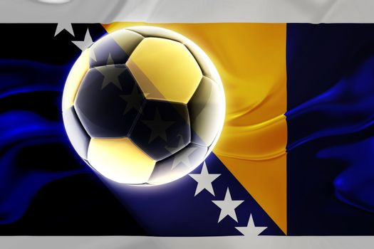 Flag of Bosnia Hertzigovina, national country symbol illustration wavy fabric sports soccer football