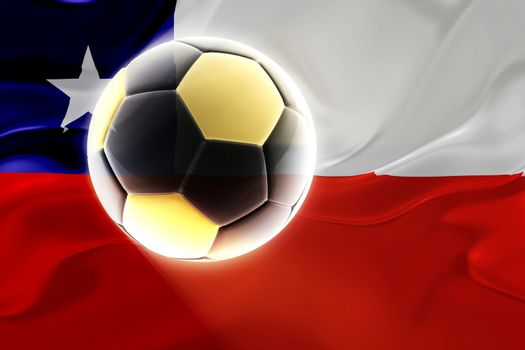 Flag of Chile, national symbol illustration clipart wavy fabric sports soccer football