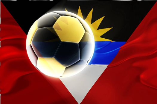 Flag of Antigua national country symbol illustration wavy fabric sports soccer football