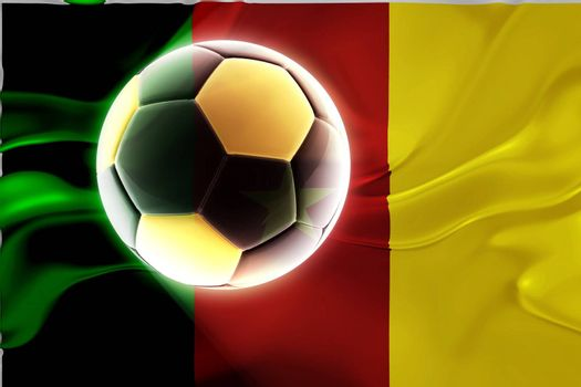 Flag of Cameroon, national country symbol illustration wavy fabric sports soccer football
