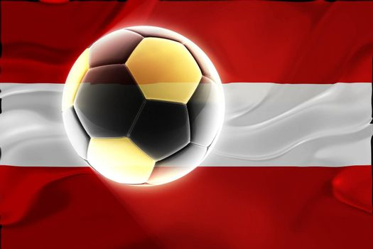 Flag of Austria, national country symbol illustration wavy fabric sports soccer football