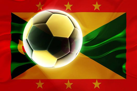 Flag of Grenada, national country symbol illustration wavy fabric sports soccer football