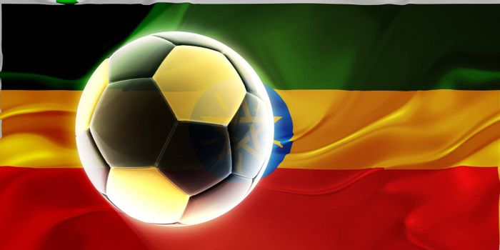 Flag of Ethiopia, national country symbol illustration wavy fabric sports soccer football