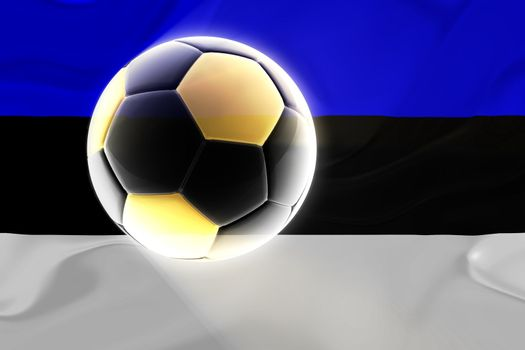 Flag of Estonia, national country symbol illustration wavy fabric sports soccer football