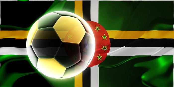 Flag of Dominica, national country symbol illustration wavy fabric sports soccer football