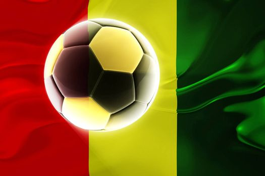 Flag of Guinea, national country symbol illustration wavy fabric sports soccer football