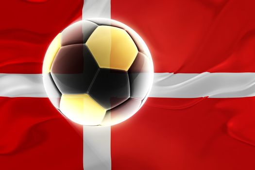 Flag of Denmark, national country symbol illustration wavy fabric sports soccer football