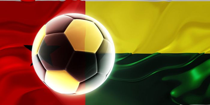 Flag of Guinea Bissau, national country symbol illustration wavy fabric sports soccer football