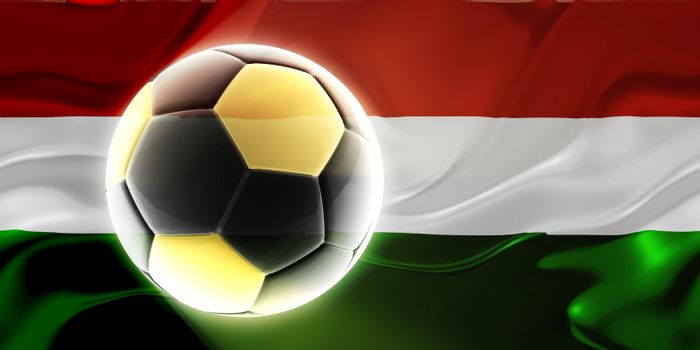 Flag of Hungary, national country symbol illustration wavy fabric sports soccer football
