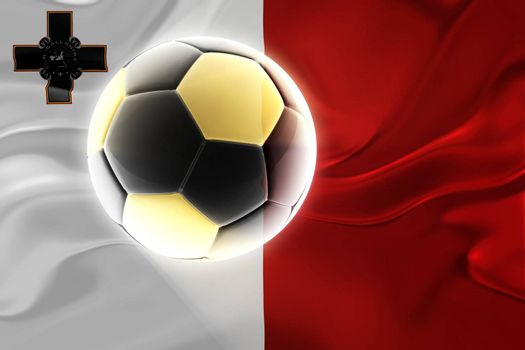 Flag of Malta, national country symbol illustration wavy fabric sports soccer football