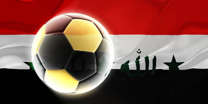 Flag of Iraq, national country symbol illustration wavy fabric sports soccer football