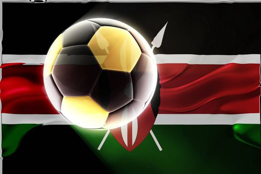 Flag of Kenya, national country symbol illustration wavy fabric sports soccer football