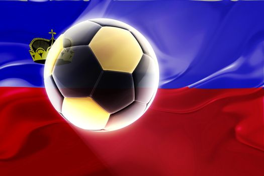 Flag of Lichenstein, national country symbol illustration wavy fabric sports soccer football