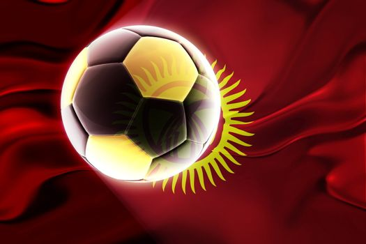 Flag of Kyrgyzstan, national country symbol illustration wavy fabric sports soccer football