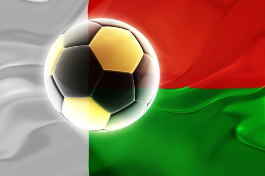 Flag of Madagascar, national country symbol illustration wavy fabric sports soccer football