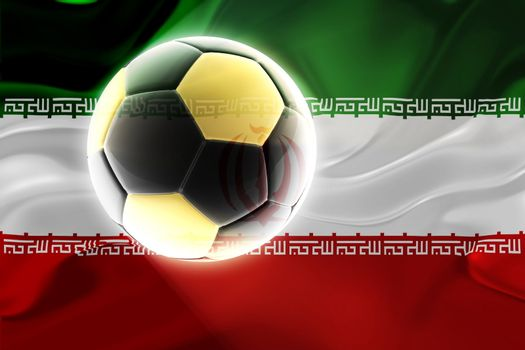 Flag of  Iran, national country symbol illustration wavy fabric sports soccer football