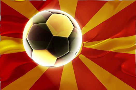 Flag of Macedonia, national country symbol illustration wavy fabric sports soccer football