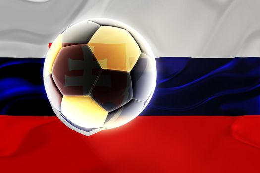 Flag of Slovakia, national country symbol illustration wavy fabric sports soccer football
