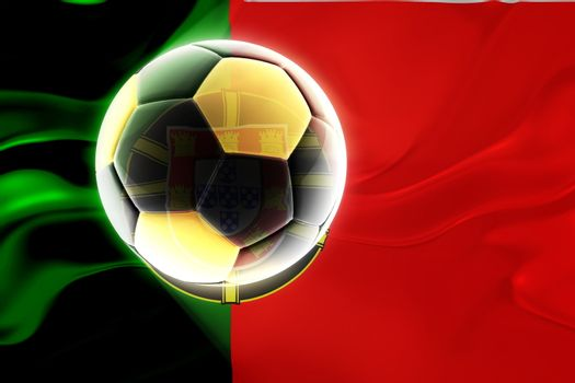 Flag of Portugal, national country symbol illustration wavy fabric sports soccer football