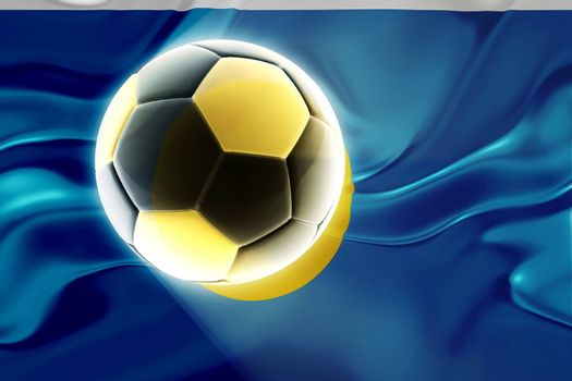 Flag of Palau, national country symbol illustration wavy fabric sports soccer football