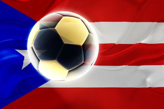 Flag of Puerto Rico, national country symbol illustration wavy fabric sports soccer football