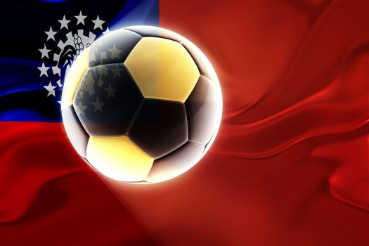 Flag of Myanmar, national country symbol illustration wavy fabric sports soccer football