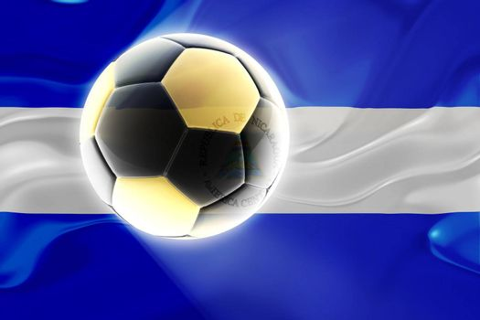 Flag of Nicaragua, national country symbol illustration wavy fabric sports soccer football
