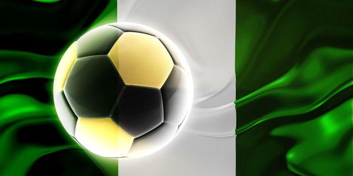 Flag of Nigeria, national country symbol illustration wavy fabric sports soccer football