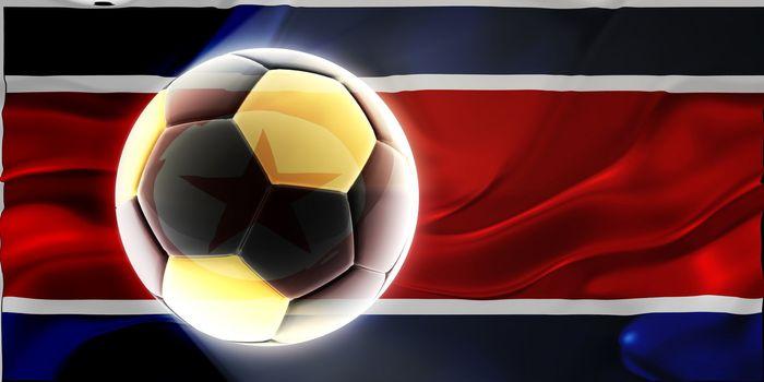 Flag of North Korea, national country symbol illustration wavy fabric sports soccer football