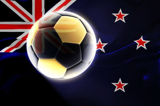 Flag of New Zealand, national country symbol illustration wavy fabric sports soccer football