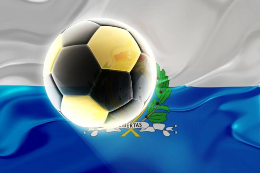 Flag of San Marino, national country symbol illustration wavy fabric sports soccer football