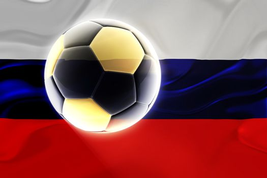 Flag of Russia, national country symbol illustration wavy fabric sports soccer football