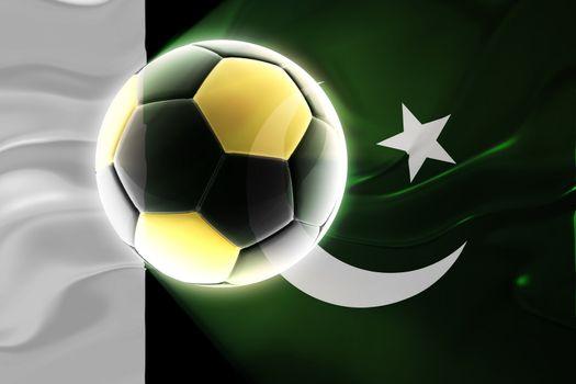 Flag of Pakistan, national country symbol illustration wavy fabric sports soccer football