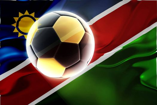 Flag of Namibia, national country symbol illustration wavy fabric sports soccer football