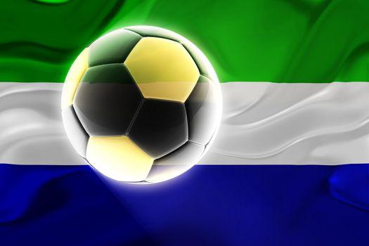 Flag of Sierra Leone, national country symbol illustration wavy fabric sports soccer football