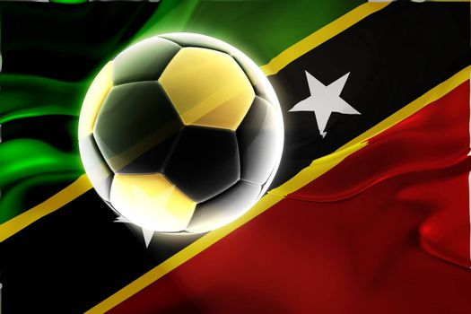 Flag of Saint Kitts and Nevis St., national country symbol illustration wavy fabric sports soccer football