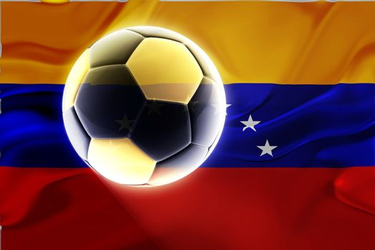 Flag of Venezuela, national country symbol illustration wavy fabric sports soccer football
