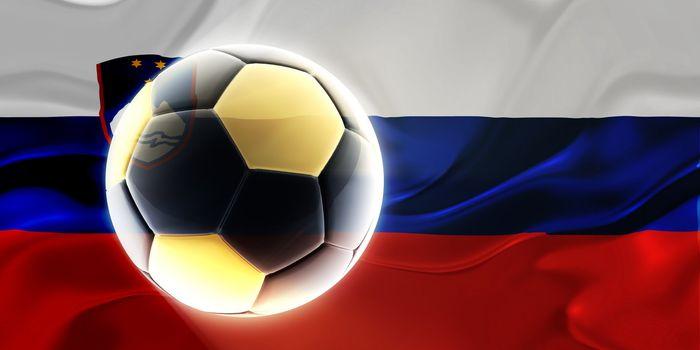 Flag of Slovenia, national country symbol illustration wavy fabric sports soccer football