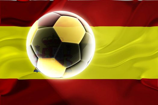 Flag of Spain, national country symbol illustration wavy fabric sports soccer football