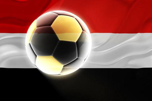 Flag of Yemen, national country symbol illustration wavy fabric sports soccer football