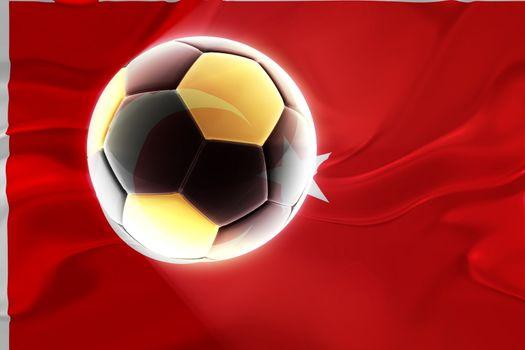 Flag of Turkey, national country symbol illustration wavy fabric sports soccer football
