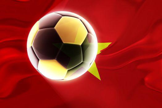 Flag of Vietnam, national country symbol illustration wavy fabric sports soccer football