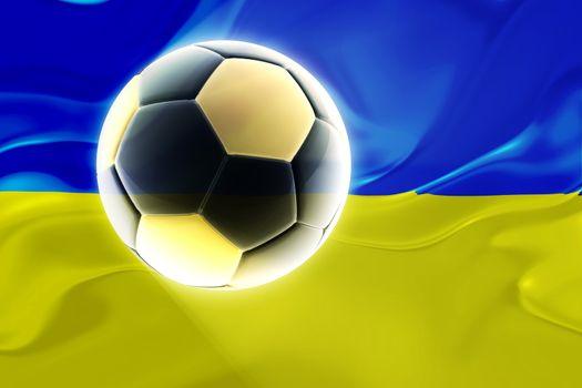 Flag of Ukraine, national country symbol illustration wavy fabric sports soccer football