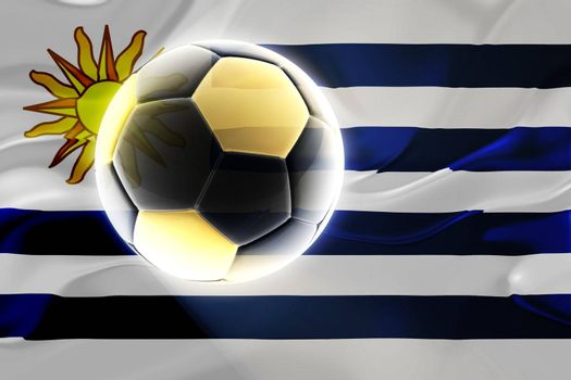Flag of Uruguay, national country symbol illustration wavy fabric sports soccer football