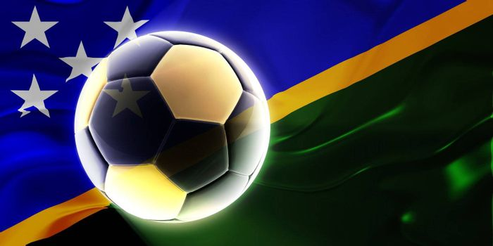 Flag of Solomon Islands, national country symbol illustration wavy fabric sports soccer football
