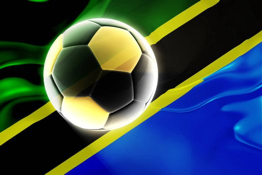 Flag of Tanzania, national country symbol illustration wavy fabric sports soccer football