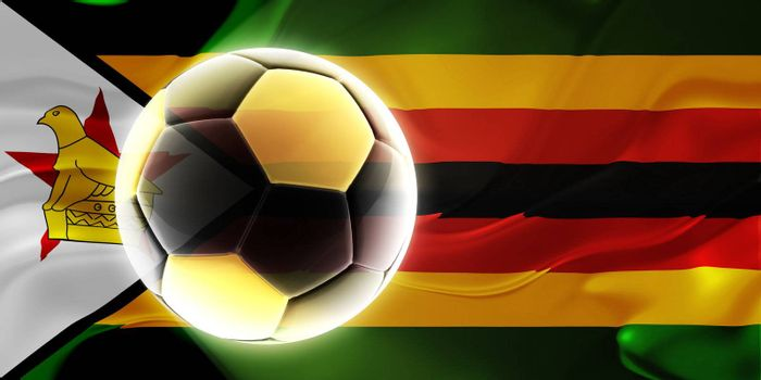 Flag of Zimbabwe, national country symbol illustration wavy fabric sports soccer football