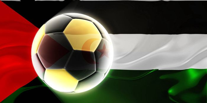 Flag of Western Sahara, national country symbol illustration wavy fabric sports soccer football