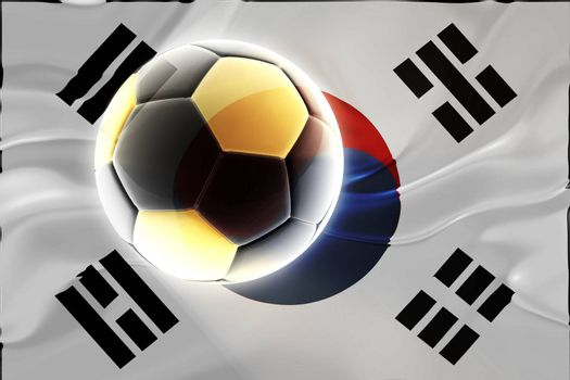 Flag of South Korea, national country symbol illustration wavy fabric sports soccer football